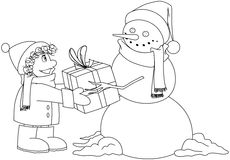 Christmas Snowman Gives Present To Boy Coloring Pa. Vector illustration coloring page of a snowman giving a present to a child for Christmas stock illustration