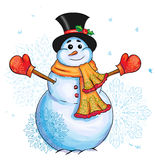 Christmas snowman graphic illustration. Vector christmas snowman graphic hand drawn illustration Stock Image