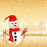 Christmas snowman greeting card Stock Photography