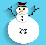 Christmas snowman for greeting text Stock Photos