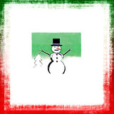 Christmas Snowman Grunge Card Stock Photography
