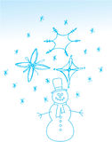 Christmas snowman. Hand drawn Stock Images