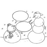 Christmas snowman. Hand drawn Royalty Free Stock Photography