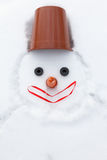 Christmas snowman instead of hands with gloves Royalty Free Stock Photography