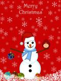 Christmas Snowman Hanging Ornament Cardinal Bird Stock Images