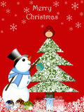 Christmas Snowman Hanging Ornament Red Cardinal Royalty Free Stock Photography