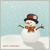 Christmas Snowman with hat and striped scarf Royalty Free Stock Photography