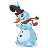 Christmas snowman with hat and striped scarf  on white background Royalty Free Stock Photography