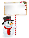 Christmas Snowman Holding Sign. Happy Christmas snowman holding a Christmas sign and smiling Royalty Free Stock Photos