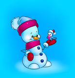 Christmas snowman illustration Stock Image