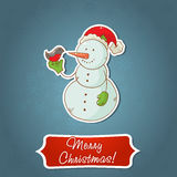 Christmas snowman invitation postcard Stock Photos