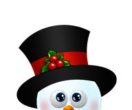 Christmas snowman looking up isolated over white Royalty Free Stock Photo
