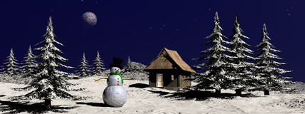 Christmas snowman at the mountain - 3D render Royalty Free Stock Photos