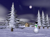 Christmas snowman at the mountain - 3D render Stock Photos