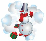 Christmas snowman. Christmas and New Year Snowman with scarf and presents Stock Images