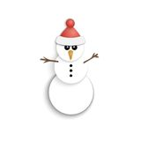 Christmas Snowman. Paper  Icon. New Year. Flat Style. Stock Images