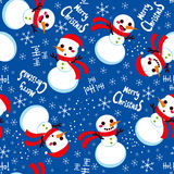 Christmas Snowman Pattern. Seamless Christmas Snowman with Santa hat background pattern tiling texture Stock Images