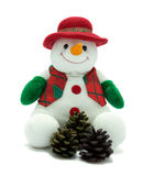 Christmas snowman with pine cones. Cuddly snowman with festive pine cones Stock Images