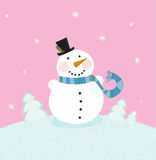 Christmas snowman on pink background Stock Photos