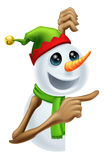 Christmas snowman pointing. Illustration of a cute happy Christmas snowman in pixie or elf hat pointing Stock Images