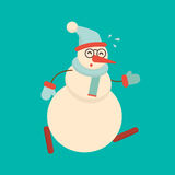 Christmas snowman running hard and getting tired. Cute cartoon c. Heerful and smiling snow man character in a hurry. Xmas holiday flat style vector illustration Stock Photos