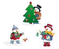 Christmas snowman's royalty free stock image