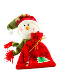 Christmas snowman with sack of gifts. Isolated on a white background Stock Photo