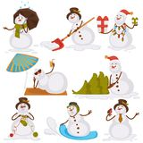 Christmas snowman Santa cartoon character icons for New Year gre Stock Photography