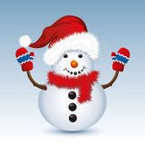 vector Christmas snowman with santa hat and gloves Royalty Free Stock Image