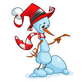 Christmas snowman with santa hat and striped scarf. Vector illustration Royalty Free Stock Images
