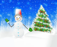 Christmas Snowman Scene with trees covered in snow. Snowman and Christmas tree. winter Royalty Free Stock Photos
