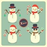 Christmas snowman set Royalty Free Stock Image