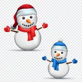 Christmas snowman transparent background. Christmas snowman set with shadow on transparent background. Red and blue scarf, mitten and cap clothes dressed on Royalty Free Stock Photography