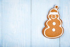 Christmas snowman-shaped cookie gingerbread Royalty Free Stock Images