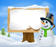 Christmas Snowman Sign Royalty Free Stock Photography