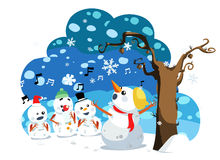 Christmas snowman sing a song. Illustration of christmas snowman sing a song Royalty Free Stock Image