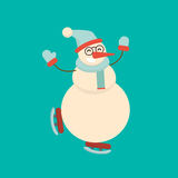 Christmas snowman skating and dancing. Cute cartoon cheerful and. Smiling character running on skates. Xmas holiday flat style vector illustration Stock Images