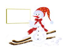 Christmas snowman skier Stock Photos