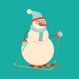 Christmas snowman skiing with sticks. Cute cartoon cheerful and. Smiling character standing on ski. Xmas Flat style vector illustration Stock Photos