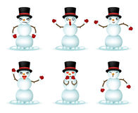 Christmas Snowman Smile Emoticon Icons Set  3d Realistic Design Vector Illustration Stock Photos