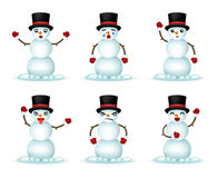 Christmas Snowman Smile Emoticon Icons Set Isolated 3d Realistic Design Vector Illustration Stock Photos