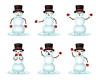 Christmas Snowman Smile Emoticon Icons Set Isolated 3d Realistic Design Vector Illustration Royalty Free Stock Photos
