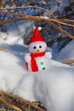 Christmas Snowman in snow stock photo