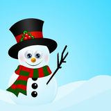 Christmas snowman in snow with place for text Royalty Free Stock Images