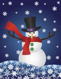 Christmas Snowman with Snowflakes Illustration Stock Image