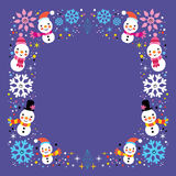 Christmas snowman & snowflakes winter holiday frame border background. Christmas snowman & snowflakes winter holiday frame border design element Royalty Free Stock Images