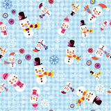 Christmas snowman & snowflakes winter seamless pattern Stock Images