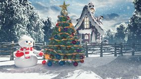 Christmas snowman in a snowy enchanted forest and a gingerbread man in the fairy house. Christmas and New year 3D