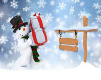 Christmas snowman with snowy sign. Christmas background of snowman carrying gifts with snowy sign Stock Image