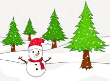 Christmas Snowman with spruce Royalty Free Stock Photography